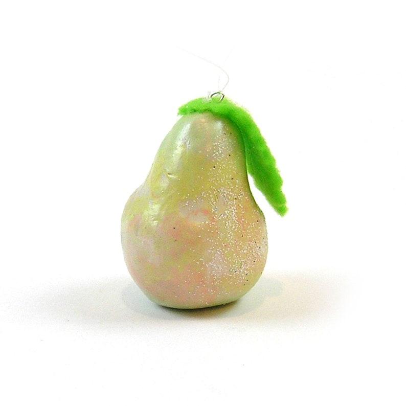 Pear Christmas Ornament Handmade Clay Pear with Felt Leaf