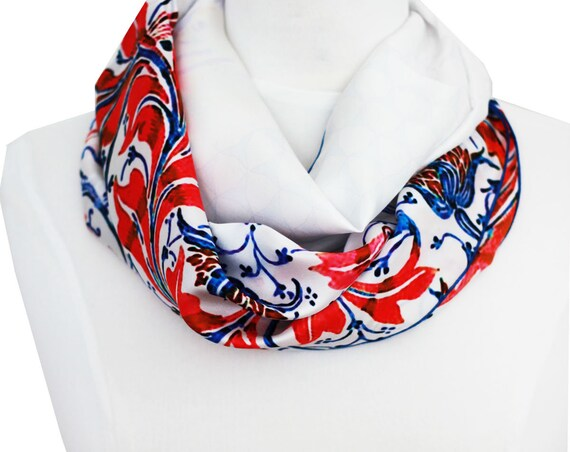 Ref: B3, printed snood silk lyon, white and pink, Lyon silk, silk scarf, handmade in Lyon