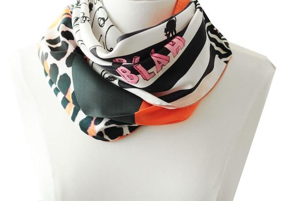 Ref: E13, snood printed silk lyon, Lyon silk, silk scarf, handmade in Lyon