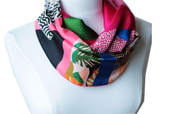 Ref: B6, snood printed silk lyon silk Lyonnaise, silk scarf, handmade in Lyon