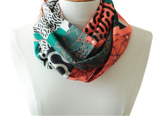 Ref: E9, snood printed silk lyon, Lyon silk, silk scarf, handmade in Lyon