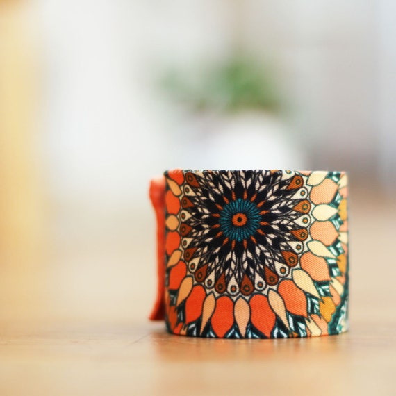 Art deco bracelet, 100% silk, handmade in Lyon, High quality, Made In France.