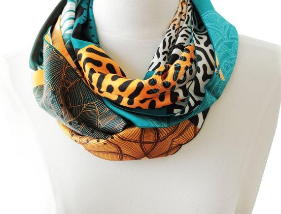 Ref: E8, snood printed silk lyon, Lyon silk, silk scarf, handmade in Lyon