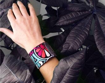 Cuff bracelet silk- Printed cuff-Made in France