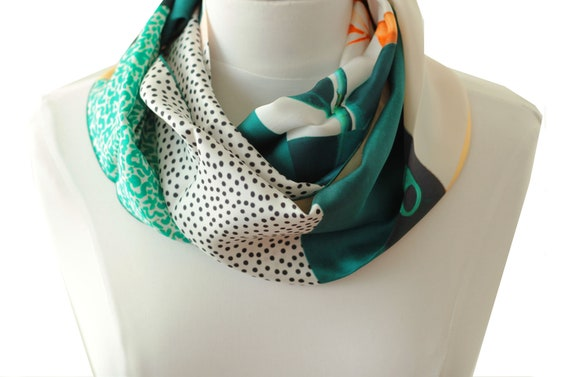Ref: E11, snood printed silk lyon, Lyon silk, silk scarf, handmade in Lyon