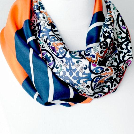 snood printed silk lyon, Lyon silk, silk scarf, handmade in Lyon