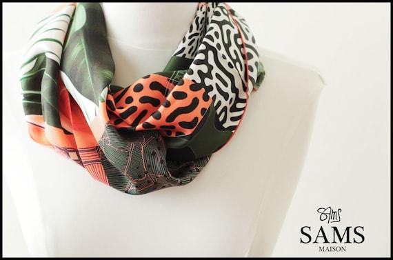 Ref: E7, snood printed silk lyon, Lyon silk, silk scarf, handmade in Lyon