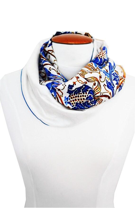 Ref: B2, printed silk snood, blue and white pattern, Lyon silk, handmade in Lyon.