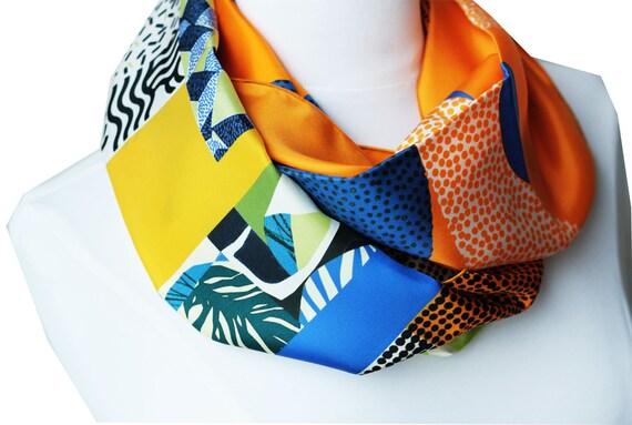 Ref: B7, printed silk snood of lyon, Lyon silk, silk scarf, handmade in lyon