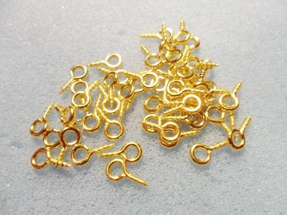 100 Screw eye bails 8 x 4mm gold plated FS34