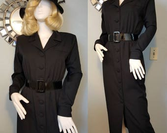 SALE! 1940s 40s gabardine style wiggle dress film noir 90s does 40s M L