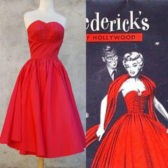 867a2c8f966 1950s 50s vintage red super full skirt dress XS S shelf bust