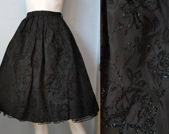 1950s 50s full skirt taffeta glitter roses flocked velvet mid century fashion 60s