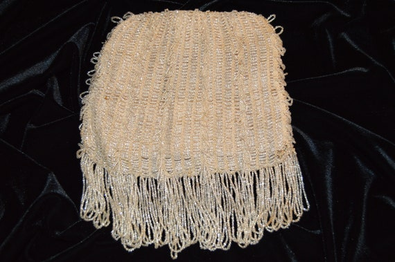 1930s Ivory-Colored Beaded Flapper Purse - image 2