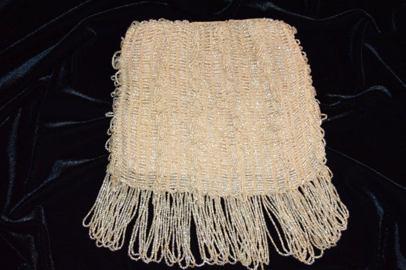 1930s Ivory-Colored Beaded Flapper Purse