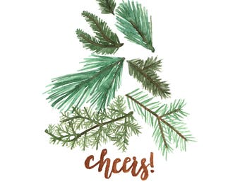 DIGITAL Cheers! Branch Tree A2 Holiday Card