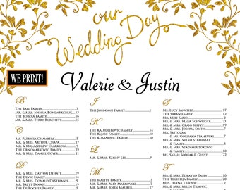 personalized Elegant wedding guest list scroll for up to  150 guests 3 pages seating chart scroll wedding vows scroll 150 seats