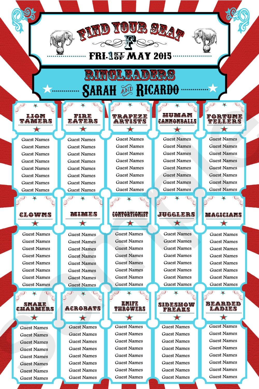 Wedding Seating Chart//Carnival Themed Seating Chart // Circus