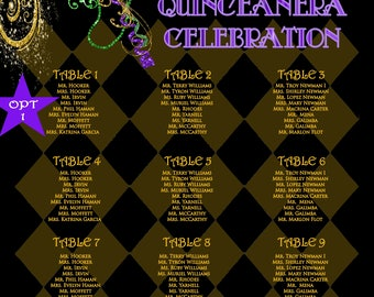 Quinceanera seating chart, wedding seating chart, mardi gras party, celebration, birthday, PRINTED or PDF