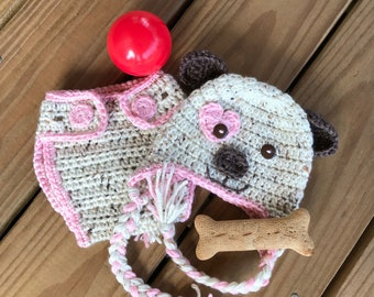 Crochet Baby Puppy Set, Puppy Hat, Puppy Diaper Cover, Baby Gift, Newborn Photo Prop