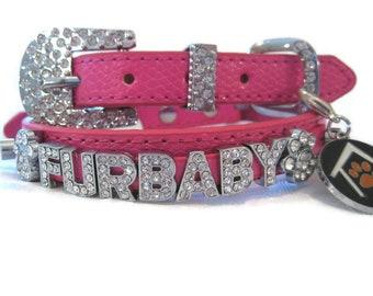 466cbb8c5 Name Crystal Bling Rhinestone Dog Pet Collar - Personalized Hot Pink Croc -  XXS XS S M or L - Hot Pink Dog Collar