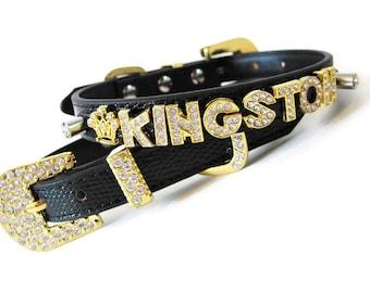 274ad10b412e9 Rhinestone Dog Collar | Gifts for dogs | Black & Gold Dog Collar |  Personalized Bling Dog Collar | XXS XS S M L dog collar