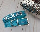 Rustic Aqua Floral Personalized Dog Collar Gifts for pets XXS XS S M L XL Personalized Dog Collar Name Dog Collar