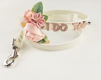 Wedding Dog collar   I DO TOO collar and leash   18 Color Options   Dog Wedding   Flower Dog Collar   Dog wedding attire   Dog of Honor