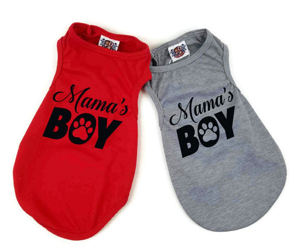 Mama's Boy Dog Shirt shown in red and grey.
