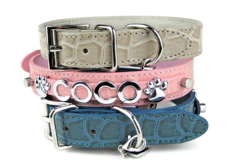 Dog Collar  Personalized Dog Collar  Choose Pink Blue or image 0