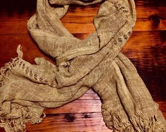 Yellow raw silk shawl (70x18in)