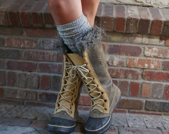 Luxe Legs - Heather Brown (Oatmeal) Thigh High Boot Socks