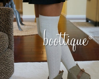CLOSEOUT!   Luxe Legs™ Cable Knit Thigh-Highs- Cream Over-the-Knee Quality Boot Socks Thigh Highs