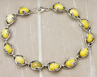 Butterscotch Baltic Amber Bracelet & Sterling Silver Jewelry AE328