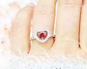 Delicate 39 Garnet Heart Ring, Small Red Heart Ring, Sterling Ring, Solitaire Ring, Engagement Ring, Promise Ring
