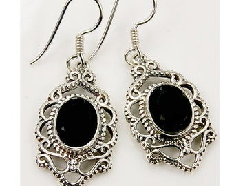 Black Onyx Earrings - Sterling Silver Earrings - Lace Earrings - Free Gift Box AE934 The Silver Plaza