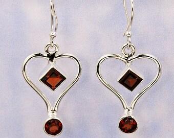 Garnet Heart Earrings Love Stone Sterling Silver Dangle Earrings AE949 The Silver Plaza