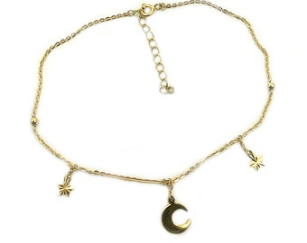Moon Anklet - Stars Anklet - Moon and Stars Anklet - Gold over Sterling Silver - Crescent Moon and Star - Dainty Charm Anklet AG31
