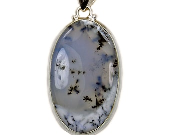 Dendritic Opal Pendant with Healing Properties Sterling Silver Pendant AG49 Jewelry Gift The Silver Plaza