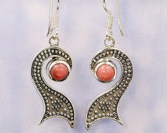 Pink Opal Earrings & Sterling Silver Dangle Earrings AE946 The Silver Plaza