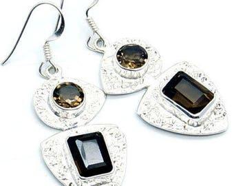 Smoky Topaz Earrings Sterling Silver Dangle Earrings U307 Jewelry The Silver Plaza