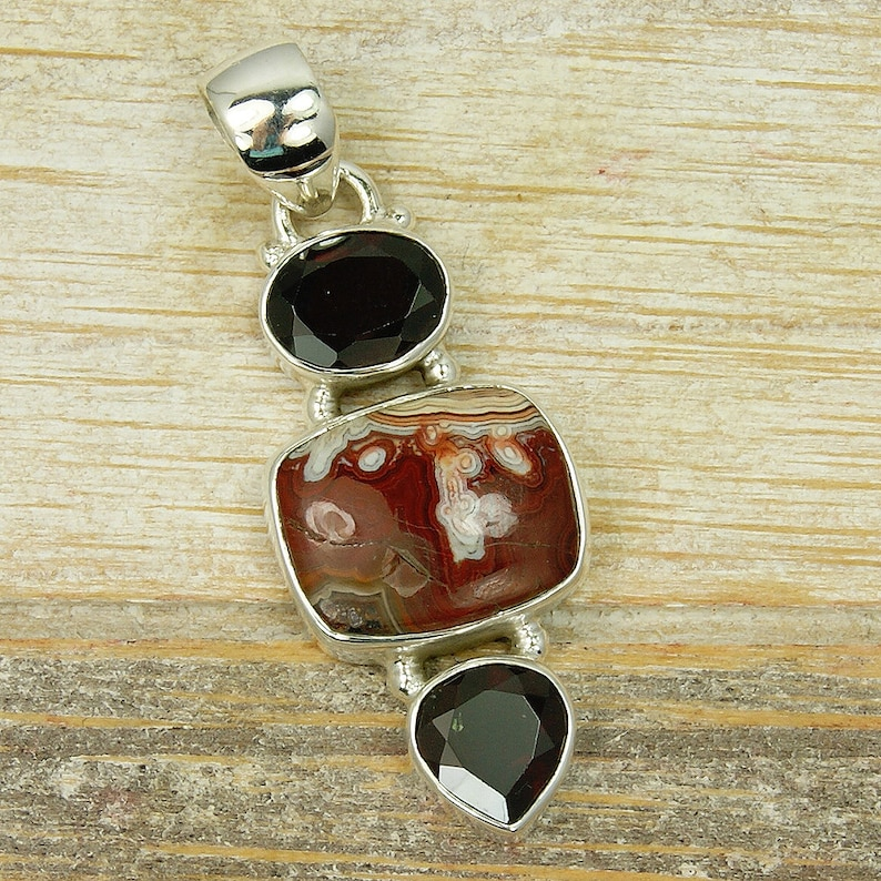 Gemstone Necklace Sterling Silver Crazy Mexican Agate and Garnet Pendant