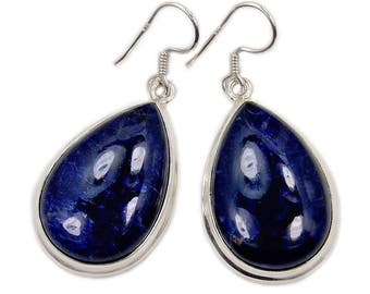 Large Sodalite Earrings Sterling Silver Dangle Earrings Healing Stone - Public Speaking - Stimulates Thought - Communication AD761