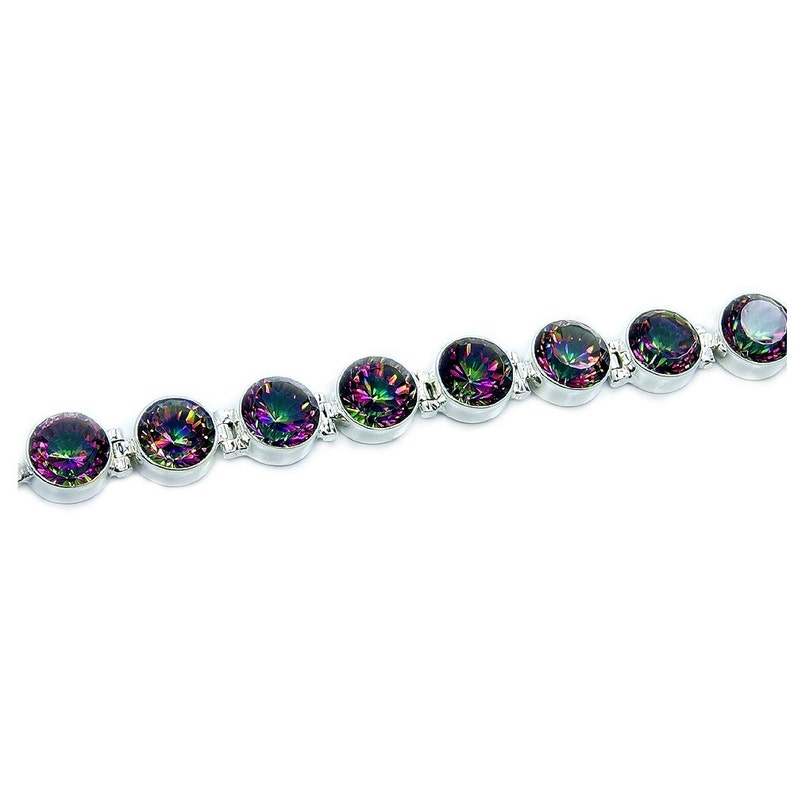 Rainbow Lights Mystic Topaz bracelet /& Sterling Silver Bracelet AE67 The Silver Plaza