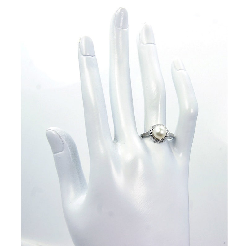 Bridal Bliss/' Silver Pearl Jewelry CZ /& Sterling Silver Ring Size 7 ; Z114 The Siver Plaza