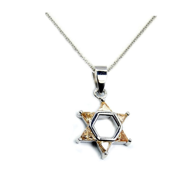"Solid Star of David .925 Sterling Silver Pendant 1/"" long"