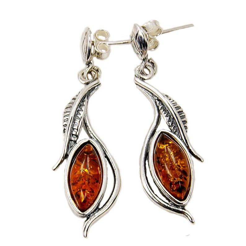 Sterling Silver Dangle Earrings The Silver Plaza AF580 Leaf Earrings Amber Earrings