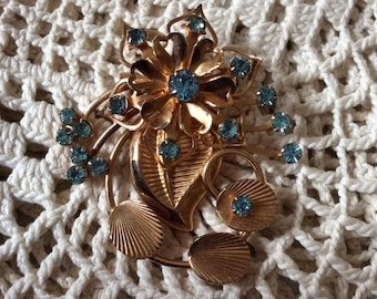 Vintage 1940s 1950s Brooch Pin/Pendant Combo  MCM Gold Tone Light Blue Stones Unsigned Lightweight
