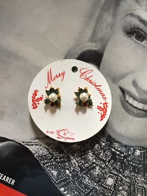 Vintage 1950's 1960's Earrings Clip On Christmas D
