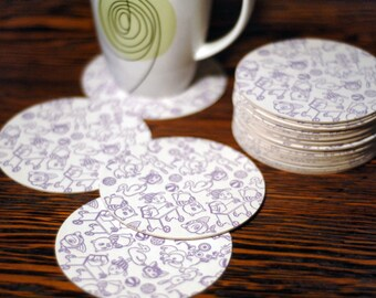 Lavender Baby Playthings Letterpress Coaster Set of 20 Baby Shower Decorations Gifts Favors